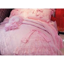 Lovely Cinderella Style Dress Trim 4-Piece Duvet Cover/Bedding Sets
