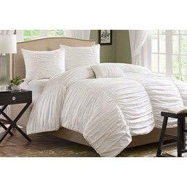 Pure White Lace Princess Style Cotton 4-Piece Bedding Sets/Duvet Cover