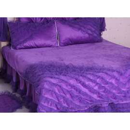 Luxury Purple Lace Trim 4-Piece Fleece Cinderella Princess Duvet Cover Sets