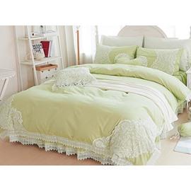 Graceful Olive Green Lace Embellishment 4-Piece Cotton Duvet Cover Sets