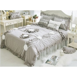 Exquisite Applique 4-Piece Cotton Grey Duvet Cover Sets