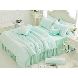 Bright Lace Trim 4-Piece Cotton Duvet Cover Sets