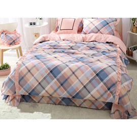 Stylish Style Plaid Print 4-Piece Cotton Duvet Cover Sets