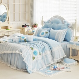 Elegant Lace Edging Princess Style Blue 4-Piece Bedding Sets/Duvet Cover