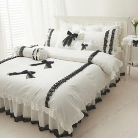 Pretty Princess Style Lace Edging 4-Piece Cotton Bedding Set/Duvet Cover