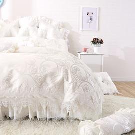 Dreamy White Lace Edging Princess Style 4-Piece Cotton Bedding Set/Duvet Cover