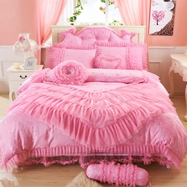 Romantic Lace Edging 4-Piece Duvet Cover Sets