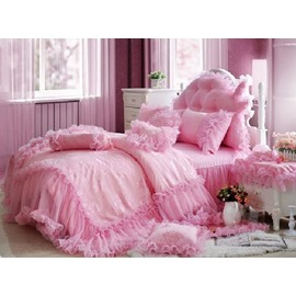Total Lace Trim Cotton Romantic Cinderella Pink Duvet Covers/Bedding Sets