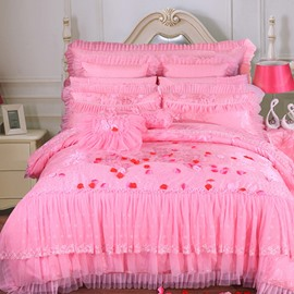 Princess Style Floral Printed Lace Edged Pink Cotton 4-Piece Bedding Sets/Duvet Cover