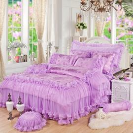Trimming Lace Solid Purple Princess Style Cotton 4-Piece Bedding Sets/Duvet Cover