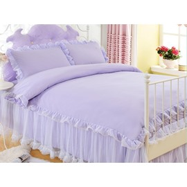 Graceful Purple Luxurious Princess Style Cotton 4-Piece Bedding Sets/Duvet Cover