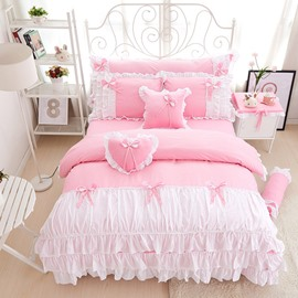 Princess Style Pink Falbala Pattern 4-Piece Bed Skirt Bedding Sets/Duvet Covers