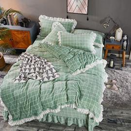 Soft White Plaids And Checks Lace Mink Velvet 4-Piece Green Bedding Sets/Duvet Cover