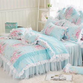 60s Cotton Lace Duvet Cover Set Bed Skirt High Quality 4-Piece Princess Style Soft Comfortable Machine Washable Bedding Sets