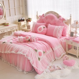Shaggy Chic Ruffle 4-Piece Duvet Cover Set- 100% Cotton Girls Bedding with Cute Sweet Pink Princess Bed Set (1Duvet Cover/2Pillowcases/1Bedskirt)