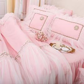 Romantic Lace Bedding Set Floral Bed Set Princess Lace Ruffle Duvet Cover 4PCS Include 1 Bedskirt 1 Duvet Cover 2 Pillowcases