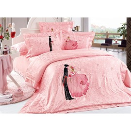 Romantic Lovers Embossed Pink Wedding Style 4-Piece Cotton Bedding Sets/Duvet Cover