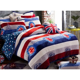 Modern Union Jack Print 4-Piece Coral Fleece Duvet Cover Sets