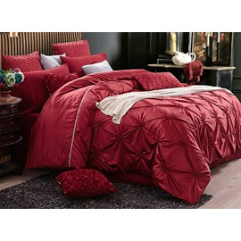 Graceful Pinch Pleat Red 4 Pieces Polyester Bedding Sets