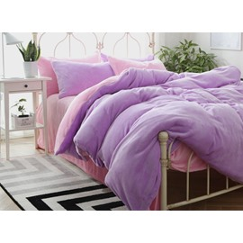 Modern Style Light Purple and Pink Flannel 4-Piece Duvet Cover Sets
