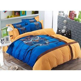 Adorable Owl and Stripe Print Coral Velvet Fluffy 4-Piece Bedding Sets/Duvet Cover