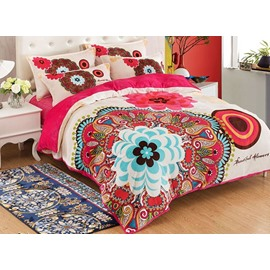 Full Size Bohemia Style Unique Flower Blooming Pattern 4-Piece Bedding Sets/Duvet Cover