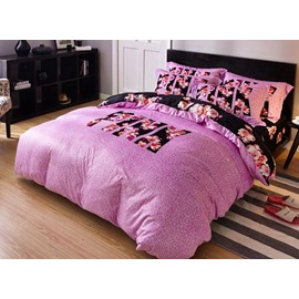 Graceful Flower and Letter Print 4-Piece Flannel Duvet Cover Sets