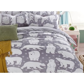 Adorable Bear Print Gray 4-Piece Flannel Duvet Cover Sets