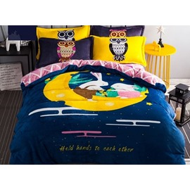 Cute Bunny on the Moon Print 4-Piece Flannel Duvet Cover Sets