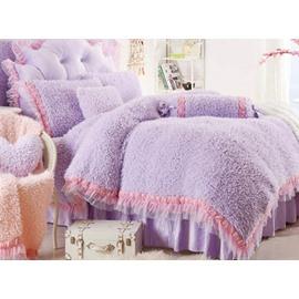 Super Soft Plush Purple Princess Style Girls 4-Piece Bedding Sets/Duvet Cover