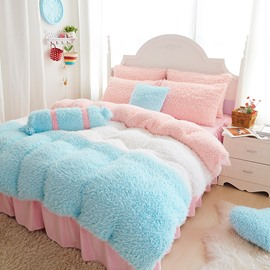Princess Style Chunky Color Block 4-Piece Velvet Bedding Set/Duvet Cover