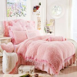 Adorable Rose and Lace Embellishment Peach Pink 4-Piece Velvet Bedding Sets/Duvet Cover