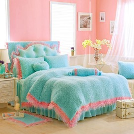 Fresh Style Blue Cozy 4-Piece Velvet Fluffy Bedding Sets/Duvet Cover