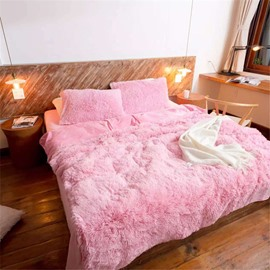 Full Size Solid Pink Princess Style 4Pcs Fluffy Bedding Sets Warm Duvet Cover with Zipper Ties
