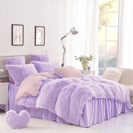 Solid Purple and Pink Color Blocking Super Fluffy 4-Piece Bedding Sets/Duvet Cover