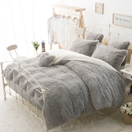 Winter Thick Plush Velvet Flannel Soft And Warm Solid Gray 4Pcs Zipper Duvet Cover Sets