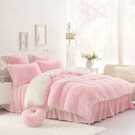 Solid Pink Cream White Fluffy 4Pcs Warm Zipper Microfiber Bedding Sets Full Queen