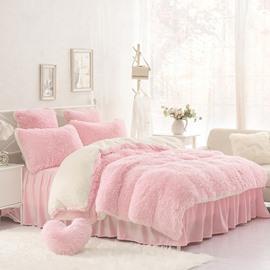 Solid Pink Cream White Fluffy 4Pcs Warm Zipper Microfiber Bedding Sets Full Queen