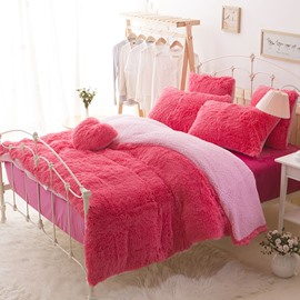 Solid Red and Pink Color Blocking Super Fluffy 4-Piece Bedding Sets/Duvet Cover