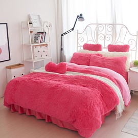 Solid Red and Pink Color Blocking Fluffy 4-Piece Bedding Sets/Duvet Cover