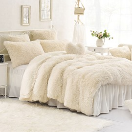 Creamy White Winter Thick Plush Velvet Flannel Soft Warm 4Pcs Zipper Duvet Cover Set