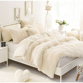 One White Pillow for Free Solid Creamy White Soft 4-Piece Fluffy Bedding Sets/Duvet Cover