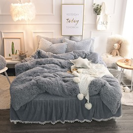 Luxury Plush Shaggy Duvet Cover Set Winter Sof Warm Gray Thick Mink Wool Bed Skirt 4Pcs Fluffy Bedding Sets Solid Zipper Closure