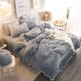 Solid Gray Simple Style Quilting Bed Skirt 4-Piece Fluffy Bedding Sets/Duvet Cover