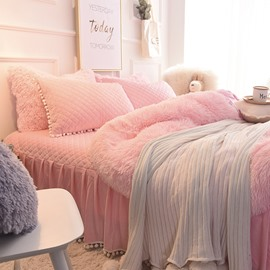 Princess Style Solid Pink with Quilting Bed Skirts Thick 4-Piece Fluffy Bedding Sets