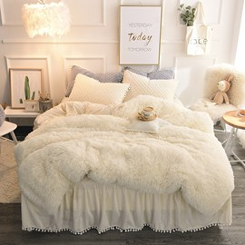 Solid Cream White Simple Style Quilting Bed Skirt 4-Piece Fluffy Bedding Sets/Duvet Cover