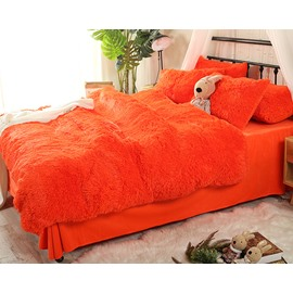 Solid Bright Orange Super Soft Fluffy Plush 4-Piece Bedding Sets/Duvet Cover