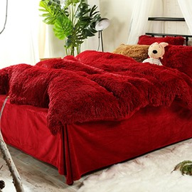 Antistatic Hot Red Super Soft Plush 4-Piece Fluffy Bedding Sets/Duvet Cover