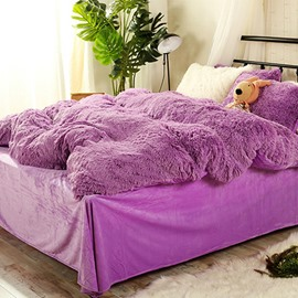 Full Size Solid Purple Super Soft Plush 4-Piece Fluffy Bedding Sets/Duvet Cover
