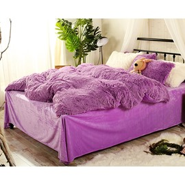 Full Size Solid Purple Super Soft Fluffy Plush 4-Piece Bedding Sets/Duvet Cover